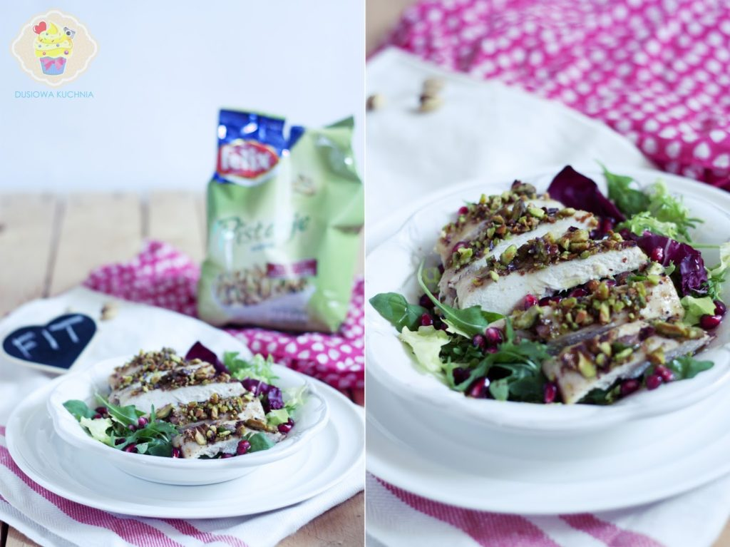 sałatka z pistacjami, kurczak w pistacjach, sałatka z granatem i pistacjami
